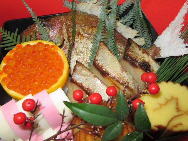 おせち料理の焼き物重,正月の祝い膳の献立