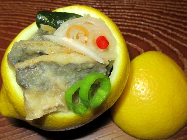 れもんの飾り切り,鯵の南蛮,あじなんばん漬けの献立,レモン釜盛り