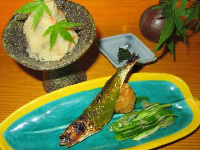 いわし魚田,木の芽みそ田楽,焼き物の献立とおからの煮物