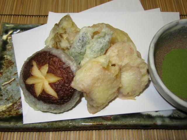夏の献立,たこの天ぷら盛り合わせ