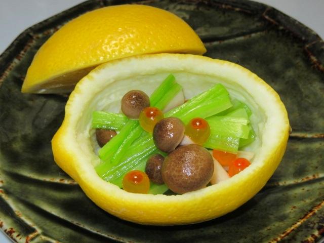 レモン釜,しめじと青菜のいくら和え