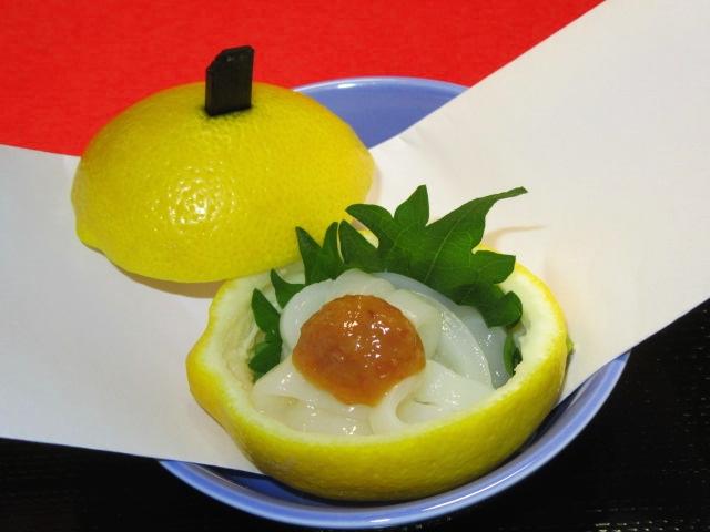 いか梅肉和え,レモン釜盛り,和え物の献立