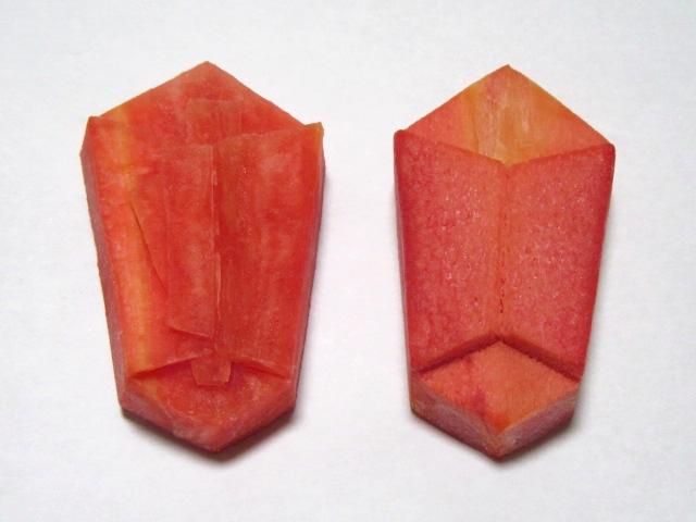 のし人参の飾り切り2種類