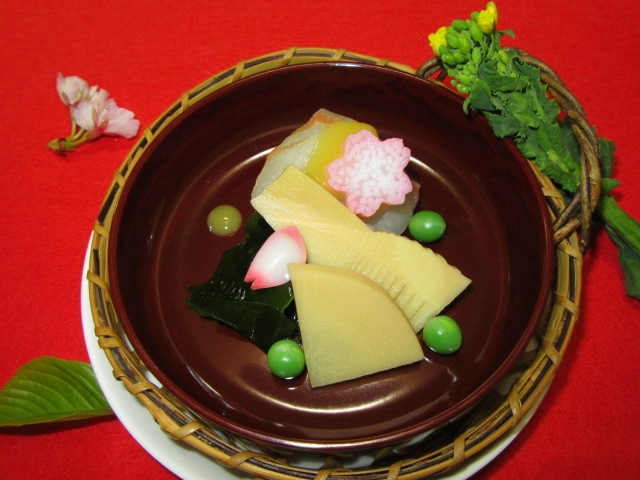 鯛と筍の酢みそ掛け画像,春の酢の物,先付けの献立