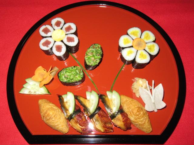 細巻き寿司の花盛り方法