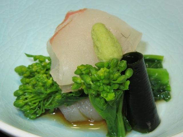 鯛と菜の花の加減酢和え