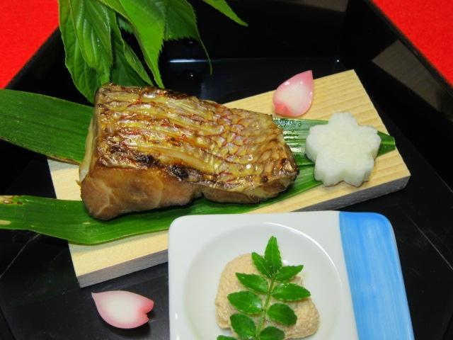 鯛の柚庵焼き,春の献立,桜長芋