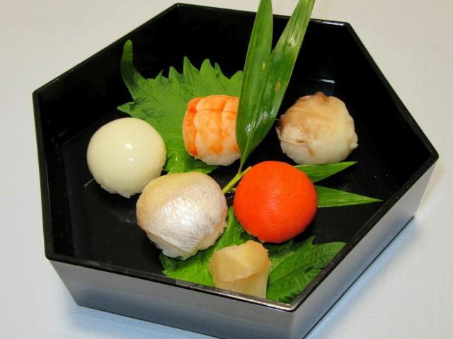 お凌ぎ,ご飯物の献立,手まり寿司五種盛り
