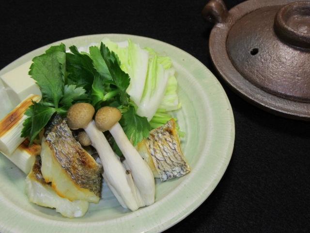 焼き鯛の小鍋仕立て,鍋物の献立