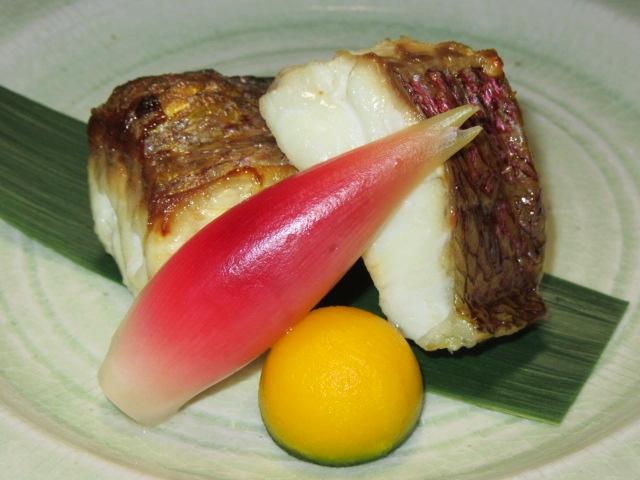 鯛の塩焼き,水玉南瓜,酢取りみょうが