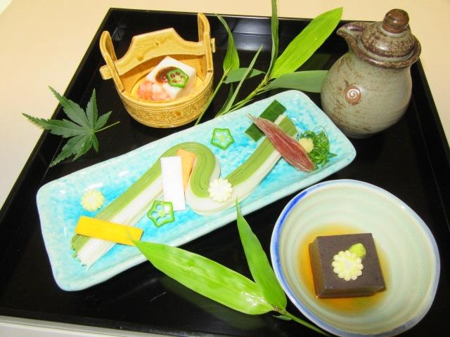 七夕の盛りつけ,彦星ごま豆腐,織姫豆腐