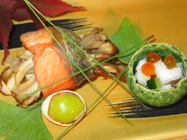 秋鮭の舞茸巻き,焼き物の献立