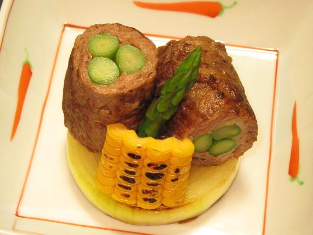 牛肉とアスパラの八幡巻き,アスパラの肉巻き焼き,夏の焼き物の献立