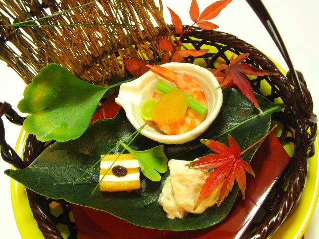 秋の献立から柿の前菜三種盛り