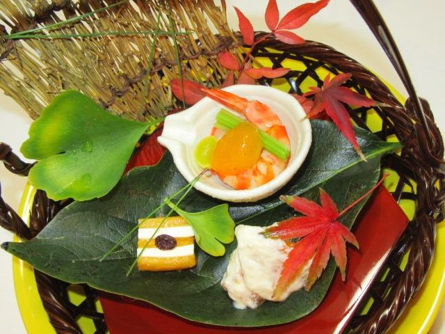 秋の献立柿の前菜三種盛り