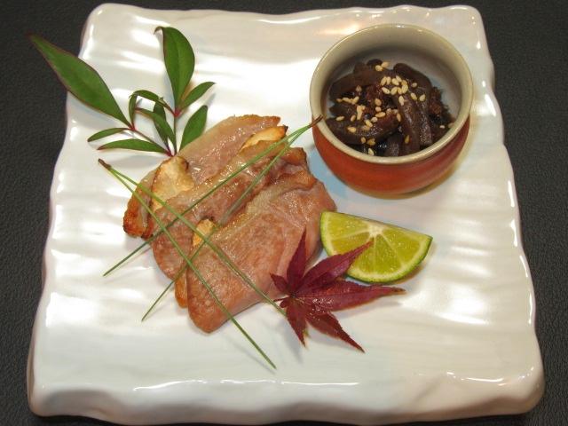 合鴨肉と松茸のはさみ焼き,秋の献立