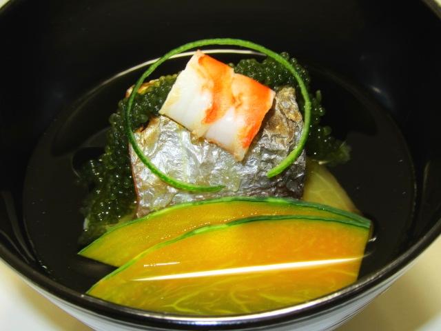 夏の吸い物の椀盛り,椀物の献立,焼きたちうお,車海老,海ぶどう