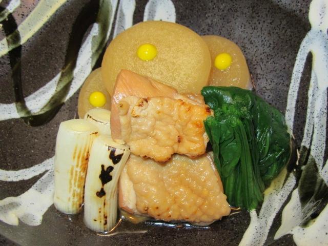 焼き鶏肉と大根のたき合わせ,冬の煮物の献立