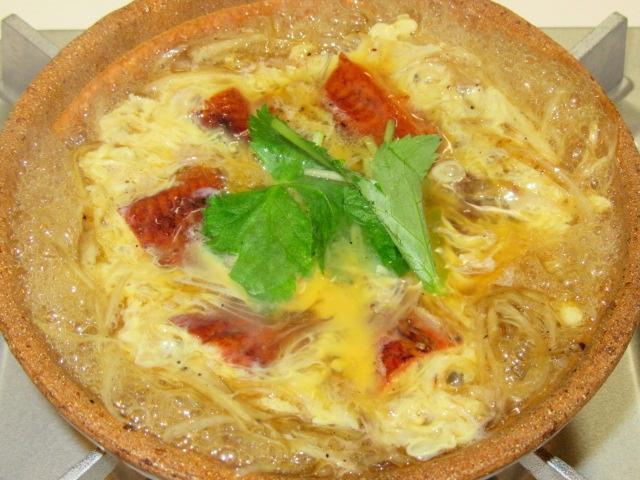 うなぎの柳川鍋の作り方手順,玉子でとじた完成写真