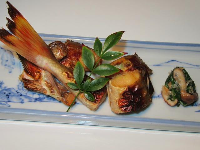 ほうぼうのつけ焼き,椎茸とほうれん草の土佐和え,冬の焼き物の献立
